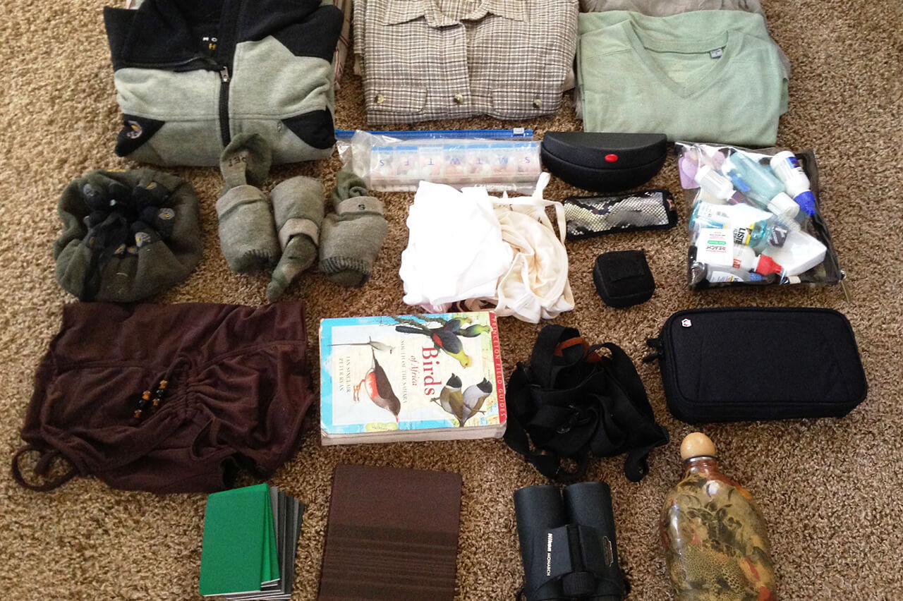 Flat Lay of items Cynthia Tuthill packed for Africa