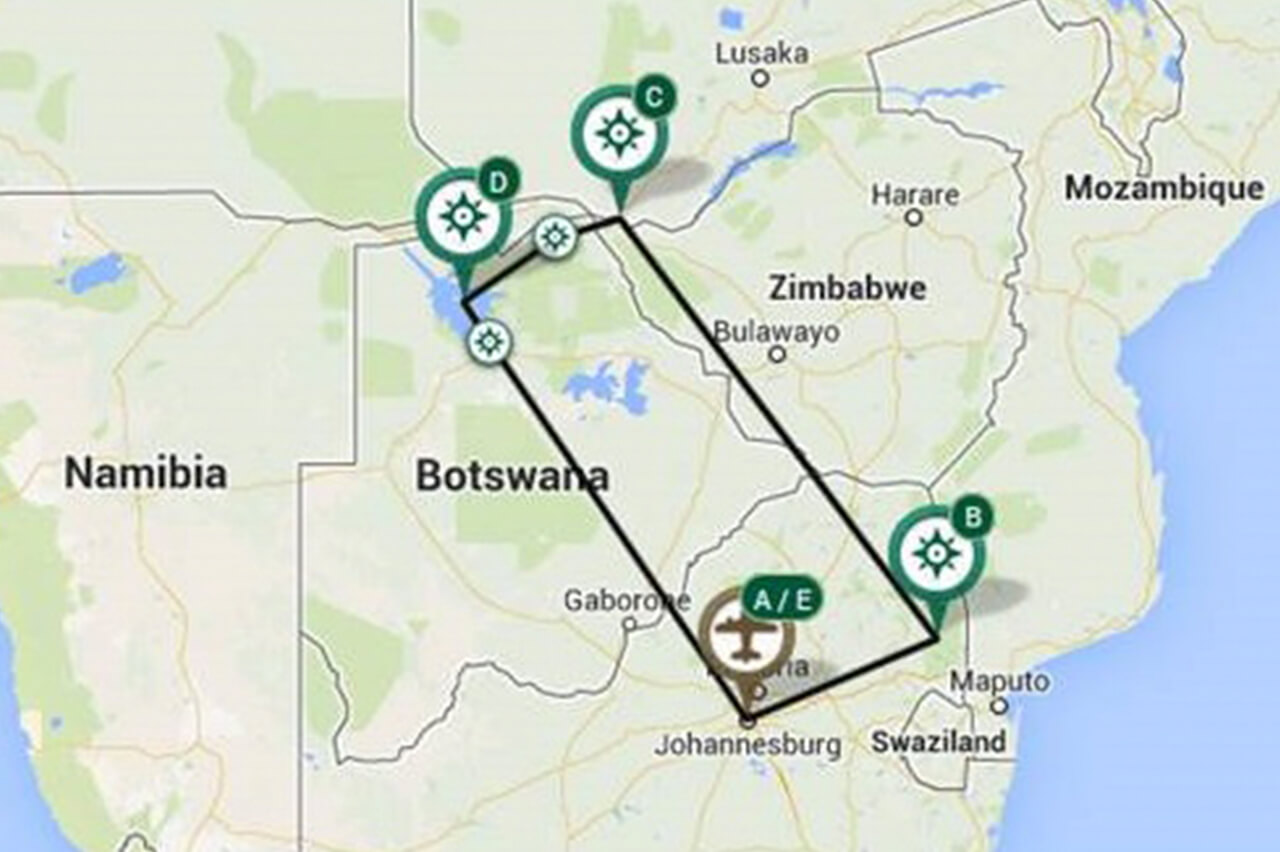 Southern Africa Map of A Bushtracks Expeditions Safari Tours in Botswana and South Africa