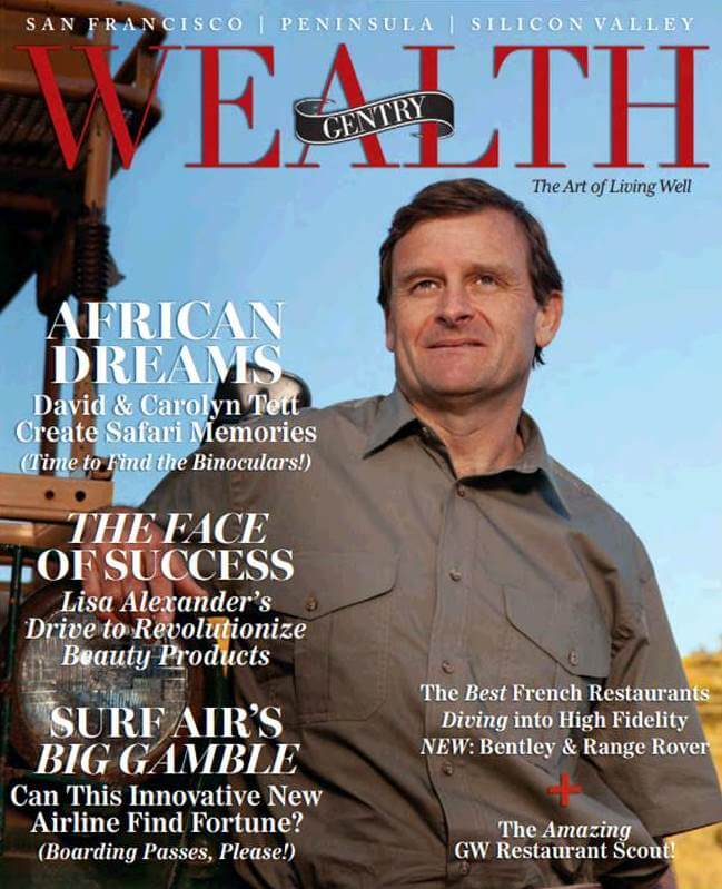 Wealth Gentry Magazine Cover with David Tett - Cover Story on Bushtracks Expeditions African Dreams