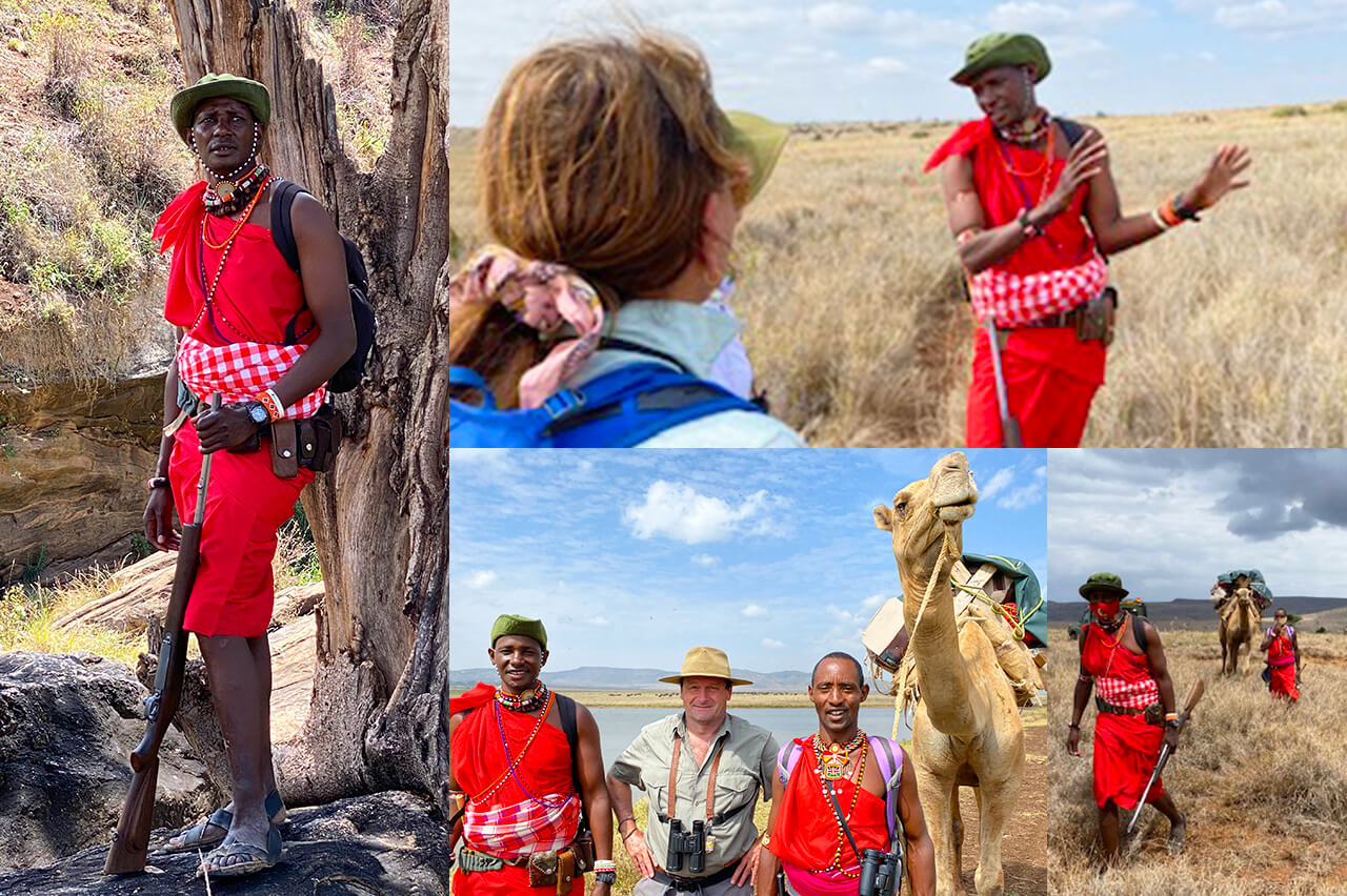 Collage of photos of Walking Wild Lead Guide Kitonga, Bushtracks President David Tett, Walking Wild Guide Noor, and Noor's Camel.