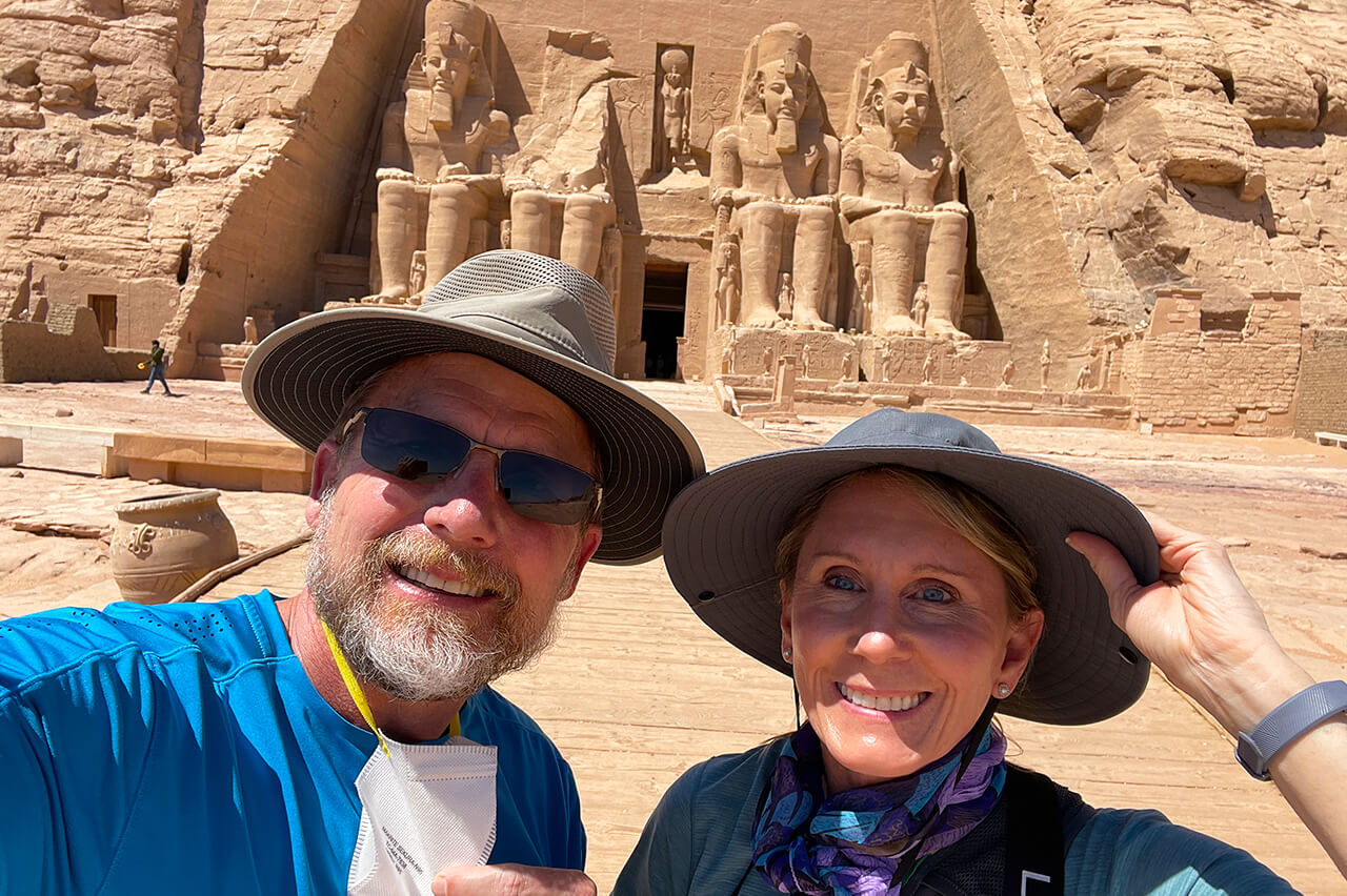2021 BT travelers standing in front of a pyramid in Egypt during their - Photo from Mrs. Epsey