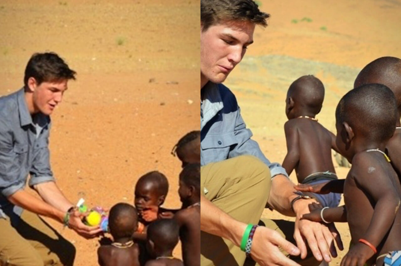 Collage of Ludwig family teen with local Namibian children