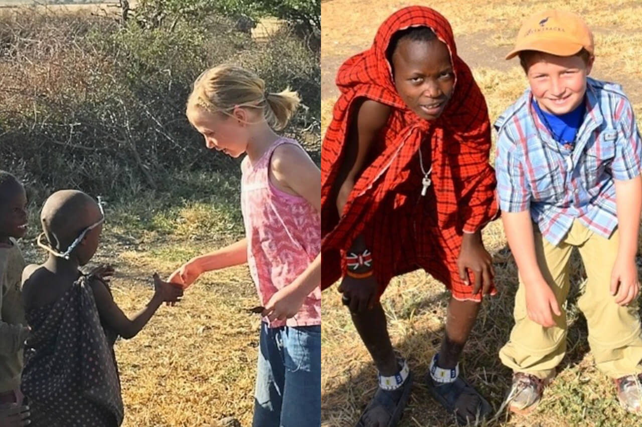 Collage of Pozos family children meeting Maasai children from the Mto wa Mbu village
