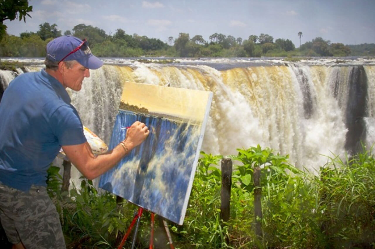 Larry paints Victoria Falls