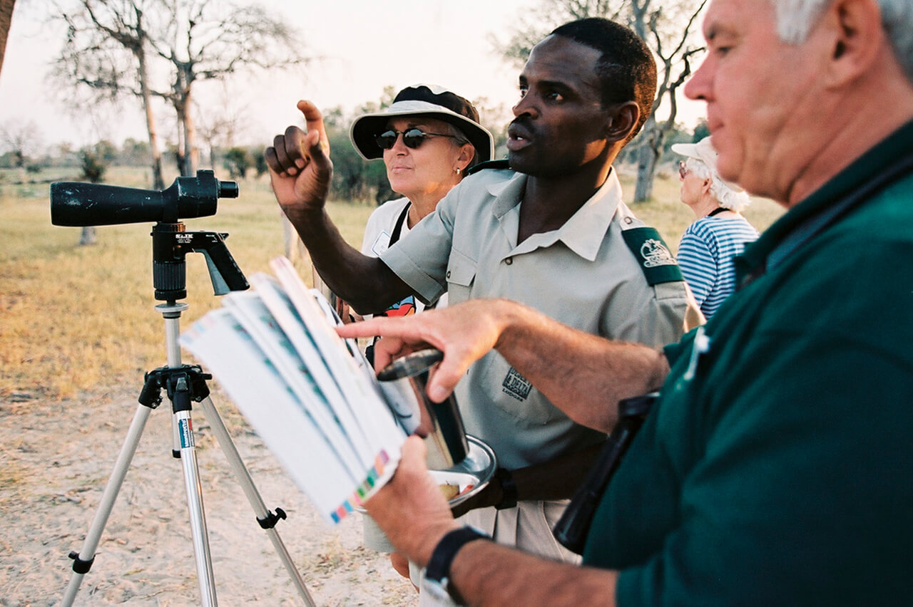 Travelers with Okavango Delta Safari Guide